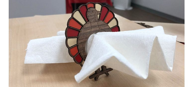 laser cut engrave turkey napkin ring thanksgiving decoration table
